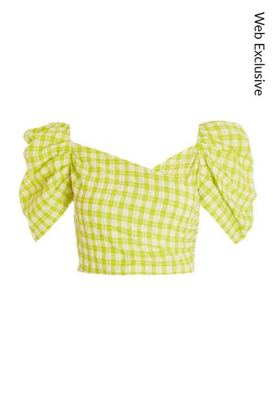 Lime Green Gingham Crop Top